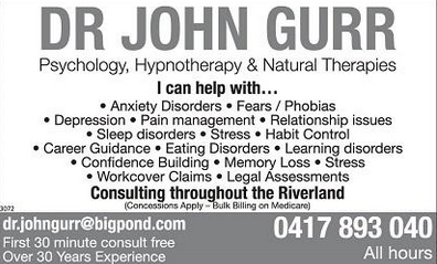 John Gurr Psychologist and Hypnotherapist Riverland SA
